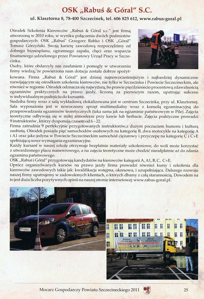 Mocarz Gospodarczy Powiatu Szczecineckiego 2011 – nominacja